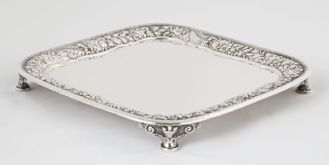 Tiffany & Co. Makers Sterling Silver Square Footed Tray