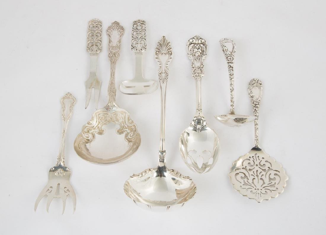 Eight Various Sterling Silver Serving Pieces