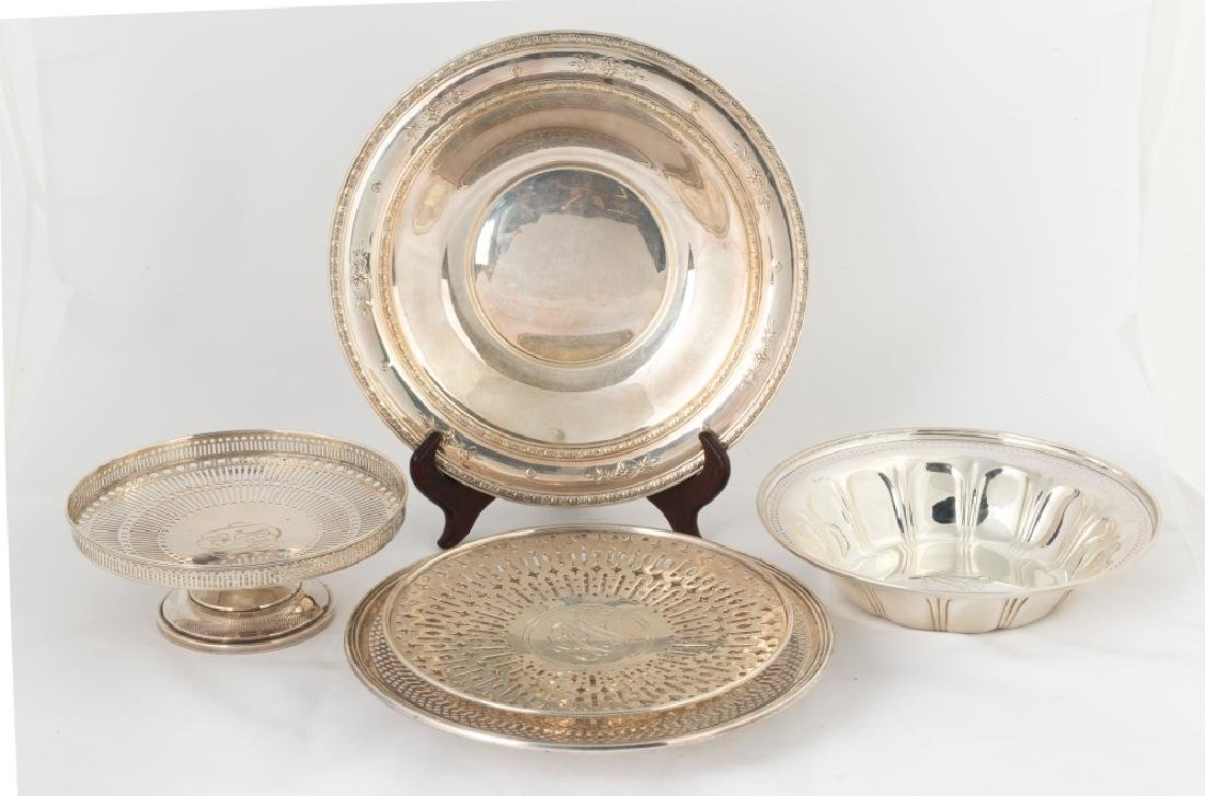 Group of Five Sterling Silver Trays and Bowls