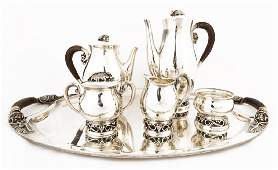 Mexican Sterling Silver Six Piece Tea Service by Codan