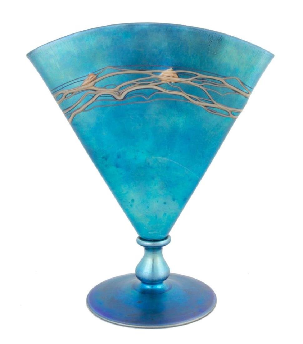 Steuben Decorated Blue Aurene Fan Vase