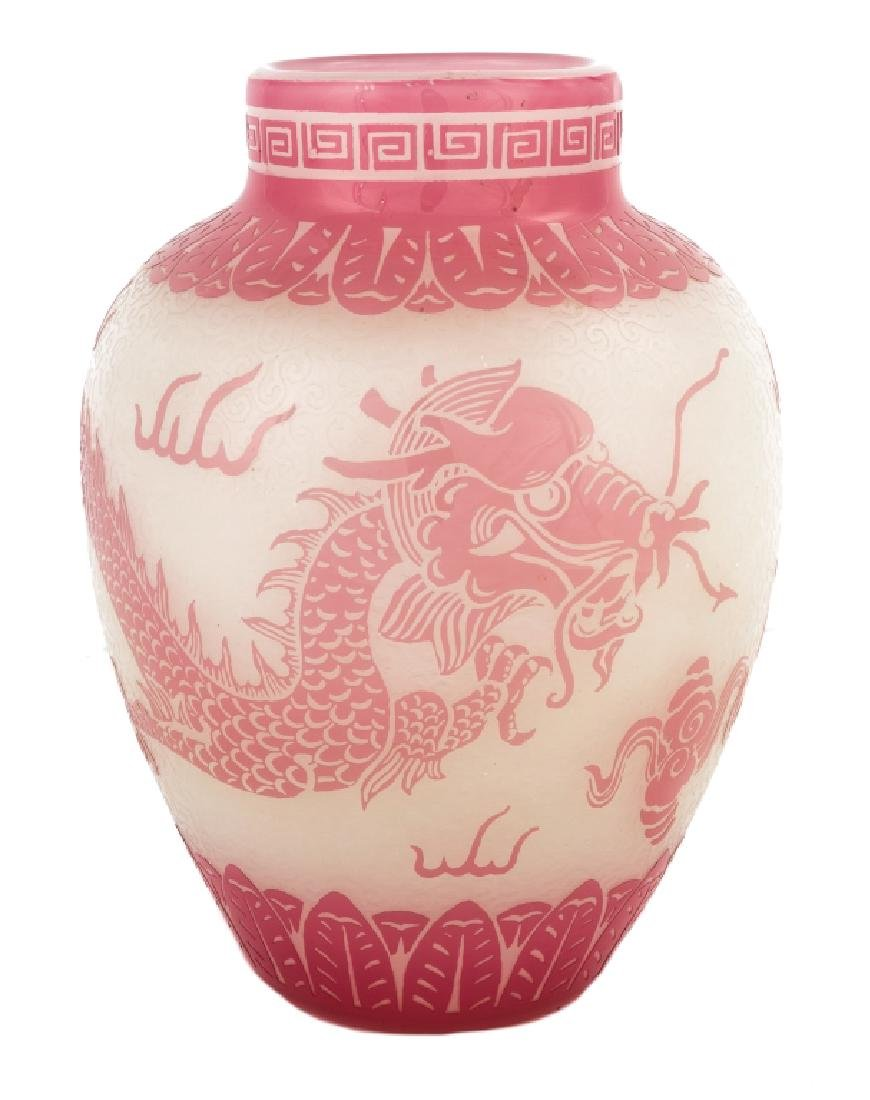 Steuben Rose and Alabaster Vase with Dragon Design