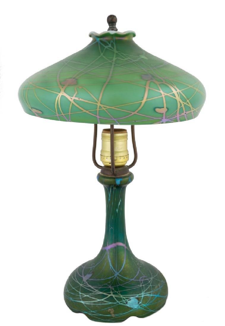 Steuben Decorated Green Aurene Table Lamp