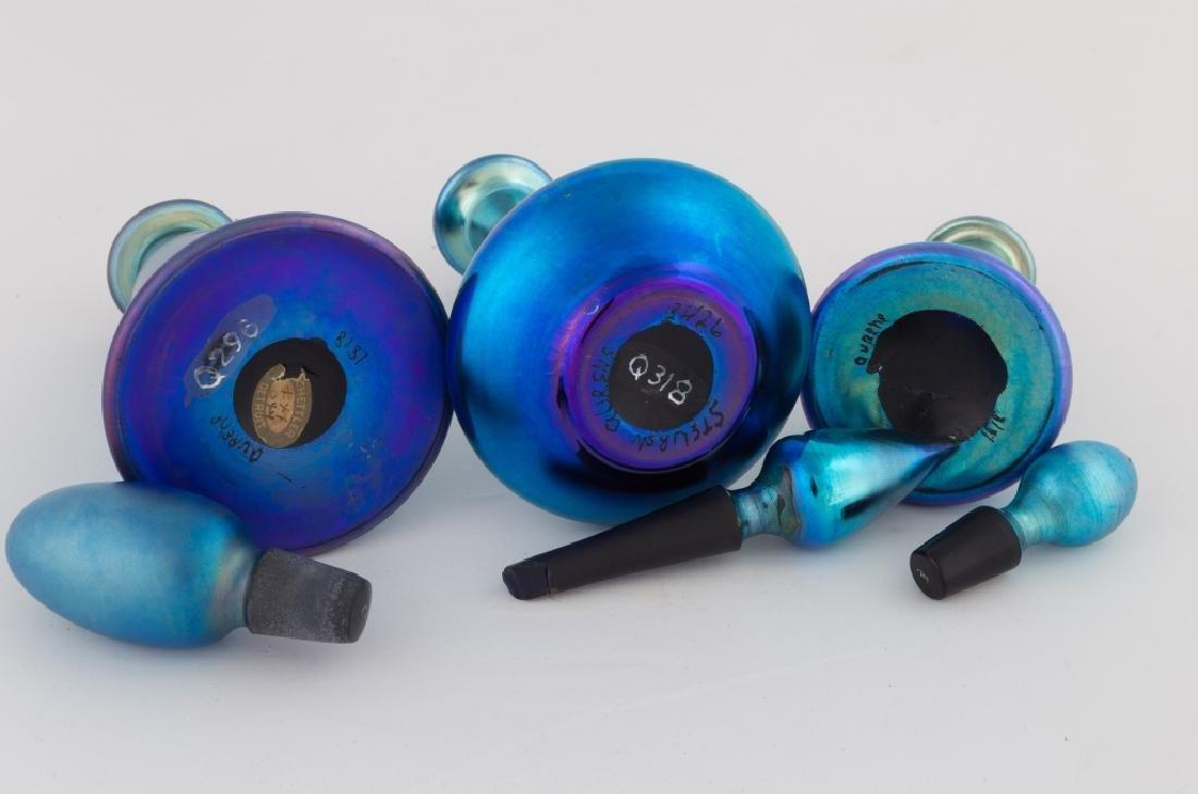 Three Steuben Blue Aurene Colognes - 2