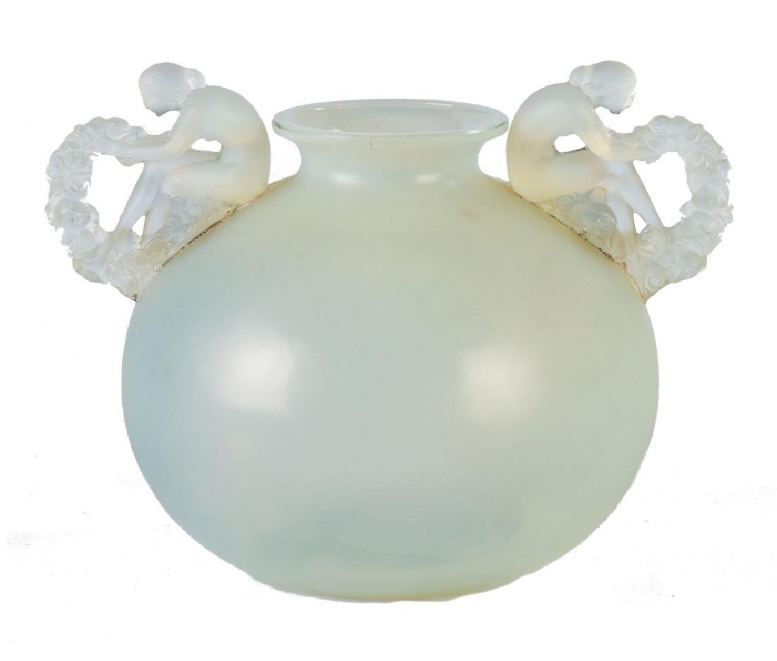 R. Lalique Opalescent Glass Bouchardon Vase