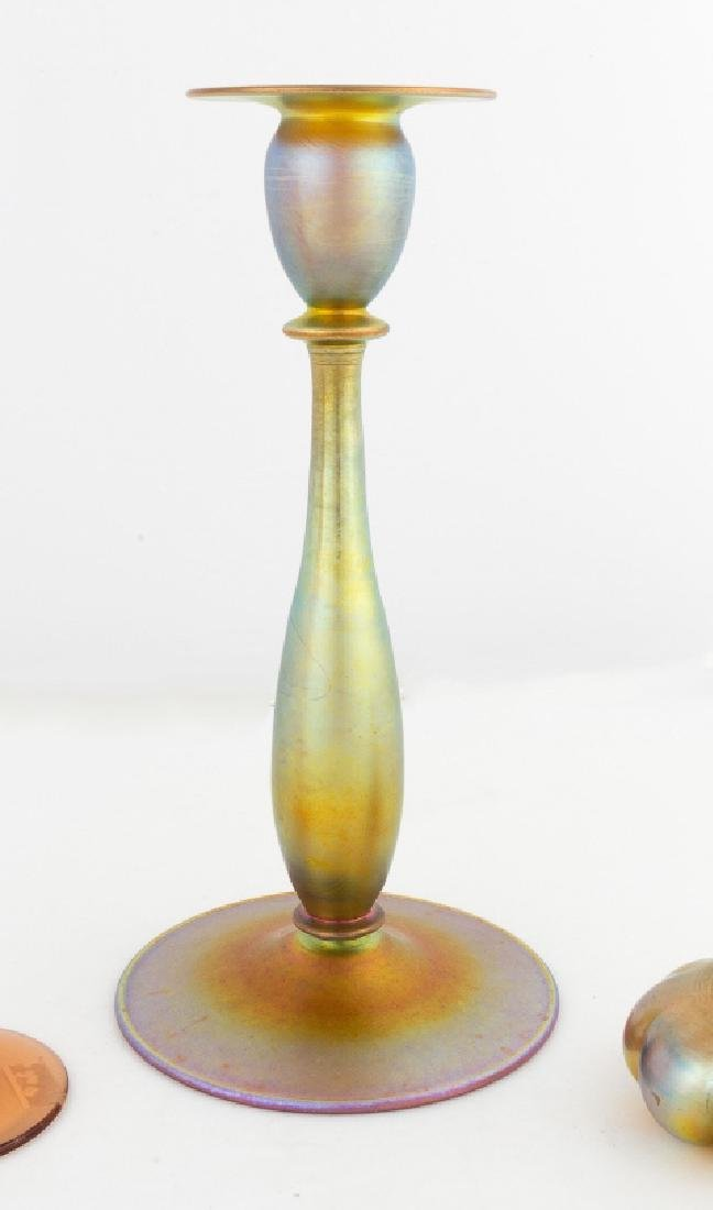 Steuben Gold Aurene Candlestick
