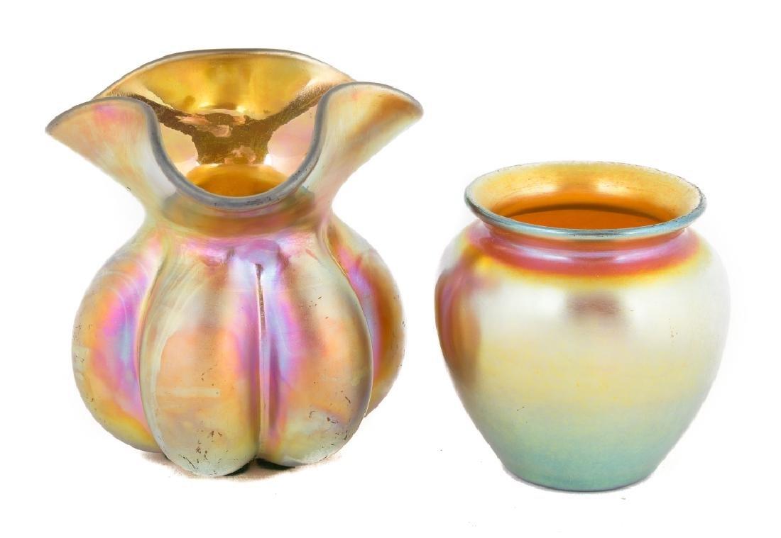 Two Steuben Gold Aurene Vases