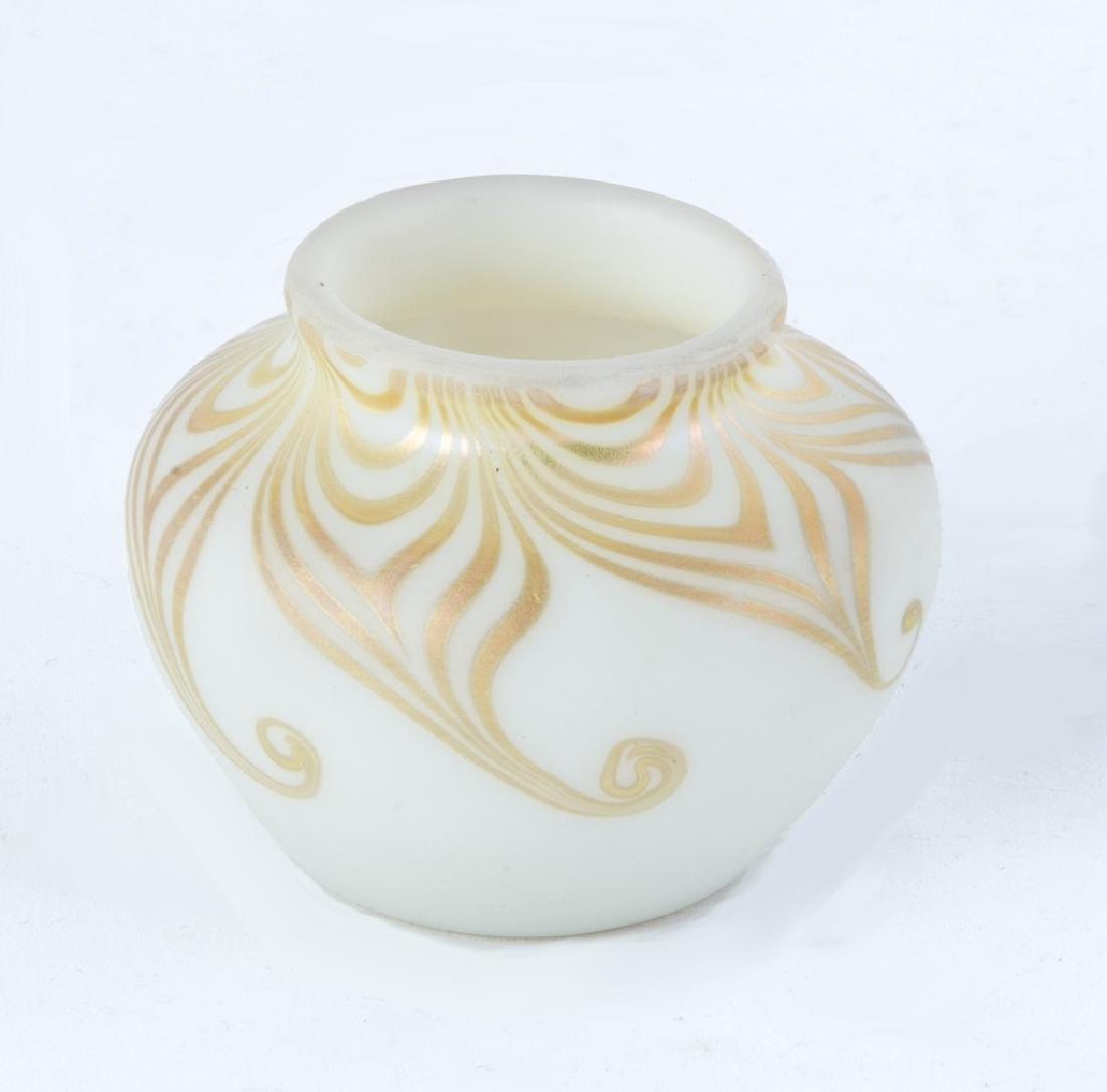 Steuben Aurene Decorated Alabaster Cabinet Vase