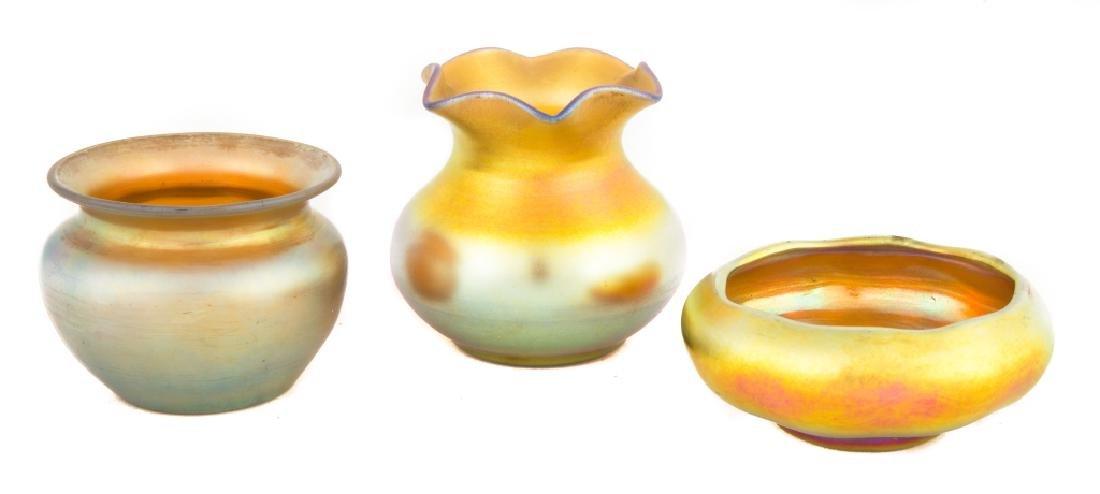 Two Steuben Gold Aurene Vases and a Master Salt