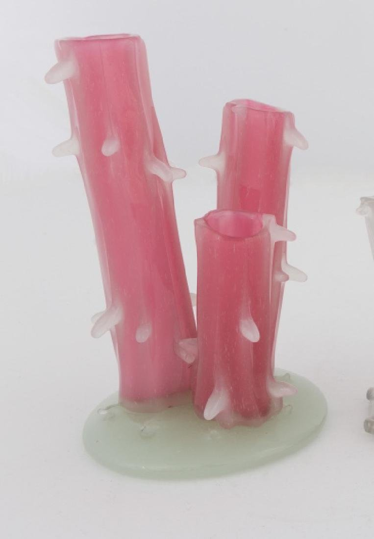 Steuben Rosaline Stump Vase with Alabaster Base