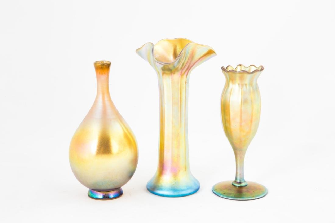 Three Steuben Gold Aurene Vases