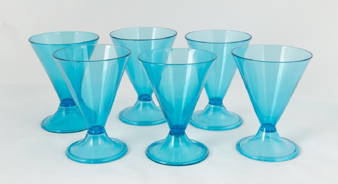 Six Steuben Celeste Blue Dessert Glasses