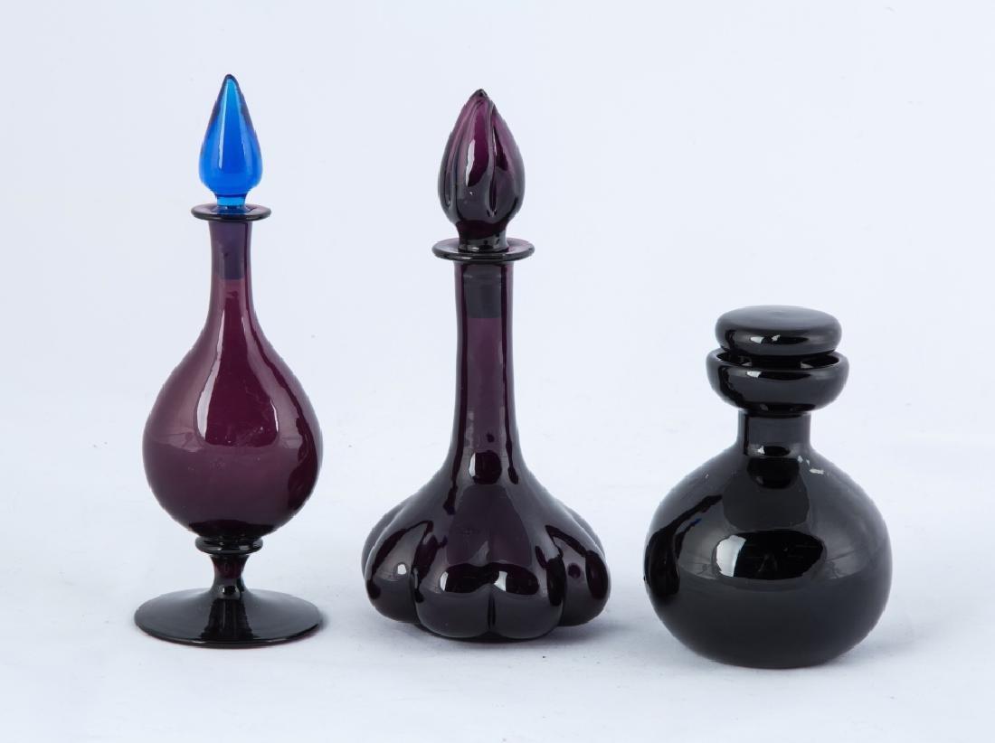 Steuben Amethyst and Black Jade Colognes