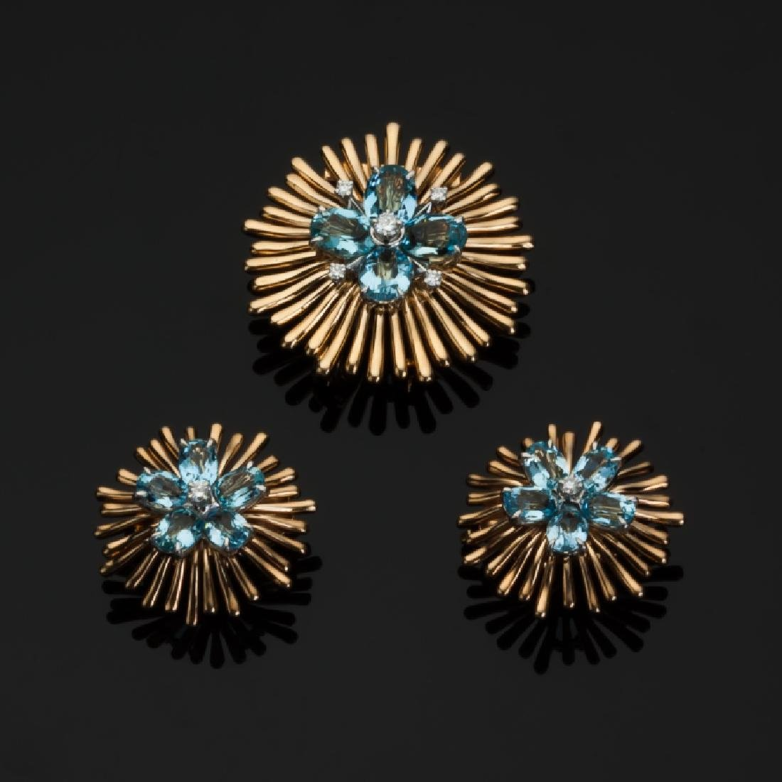 Cartier Aquamarine and Diamond 14K Gold Clip Brooch and