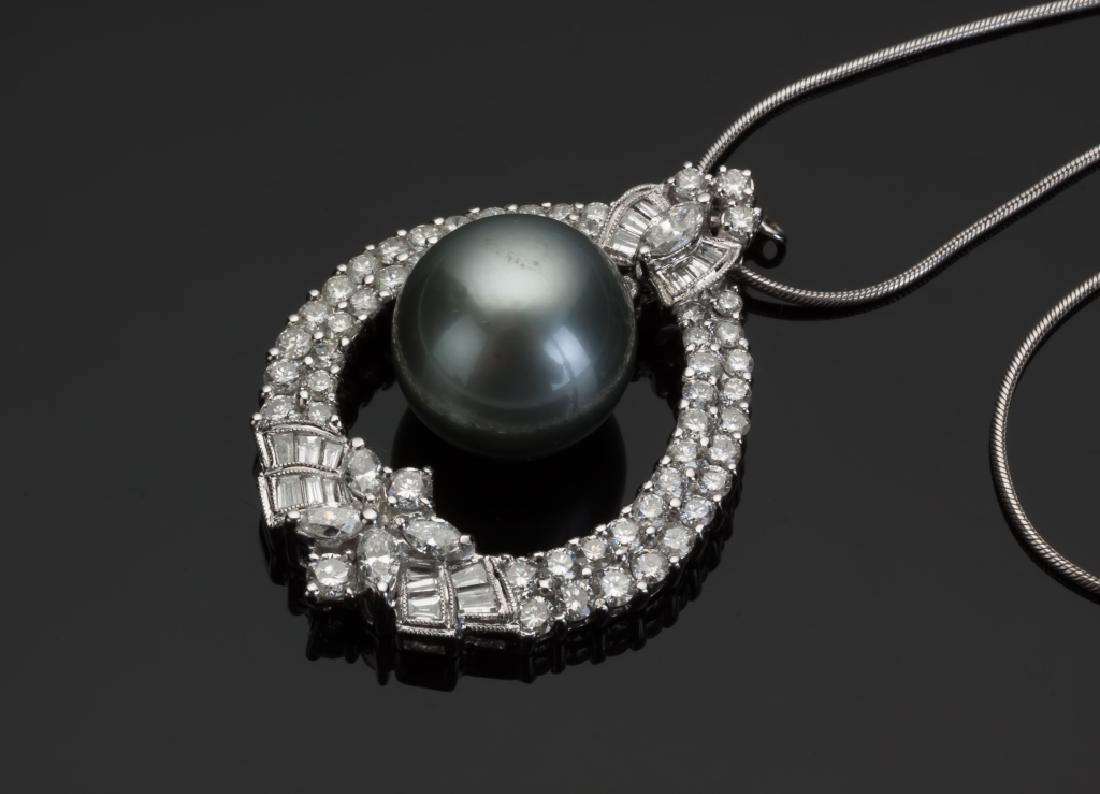 Tahitian Pearl and Diamond Tear Drop Shape Pendant