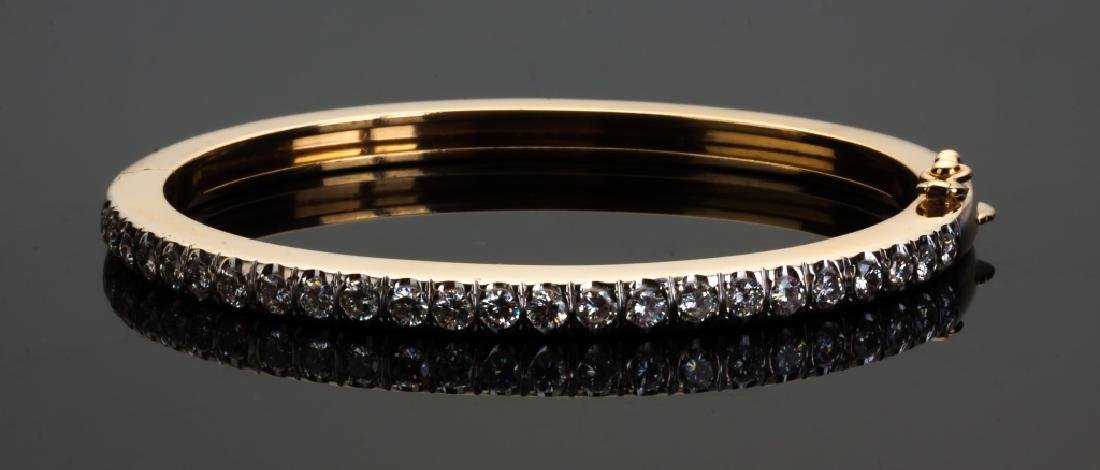 14K Yellow Gold and Diamond Hinged Bracelet
