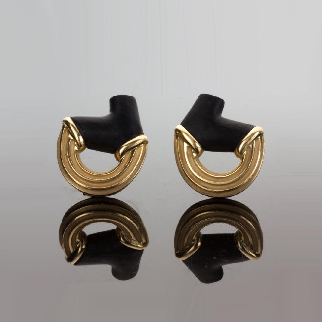 Christopher Walling 18K Gold and Black Coral Earrings
