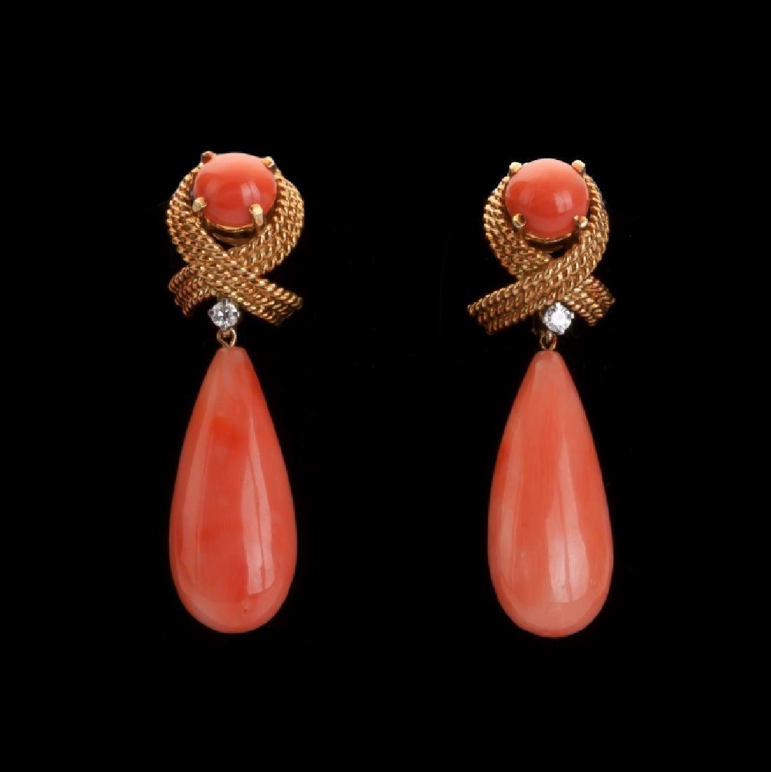 Tiffany & Co. Coral and Diamond 14K Gold Earrings