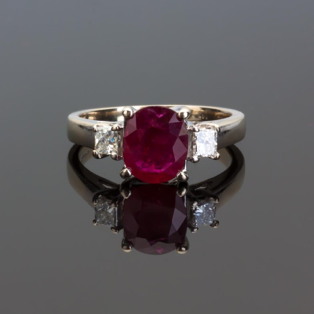 Ruby, Diamond 14K White Gold Ring