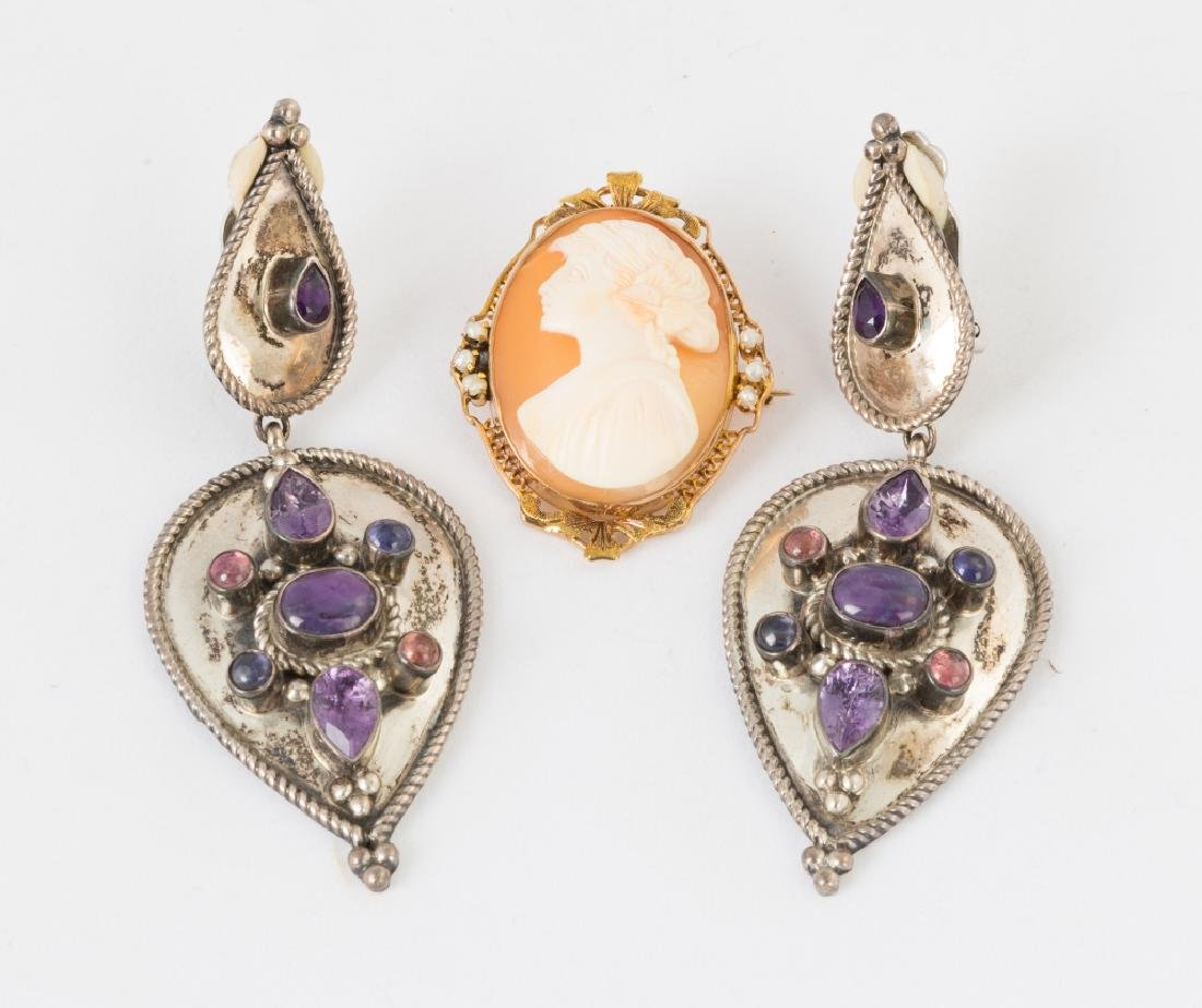 Sterling Silver Earrings and a Cameo