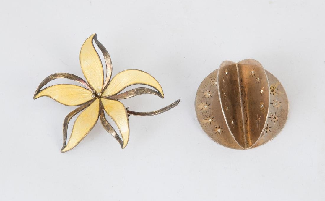 Sterling Silver Enameled Floral Pin and Cast Cliff