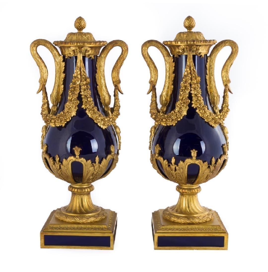 Sevres Gilt Bronze Cobalt Blue Urns