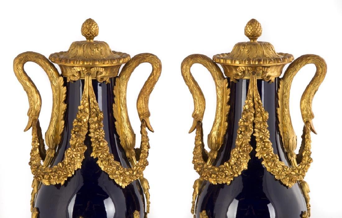Sevres Gilt Bronze Cobalt Blue Urns - 2