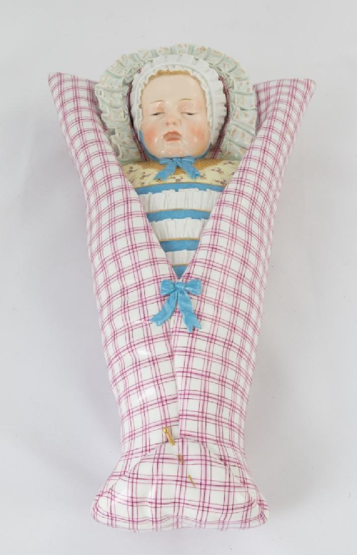 Unusual Meissen Hand Painted Porcelain of a Swaddled