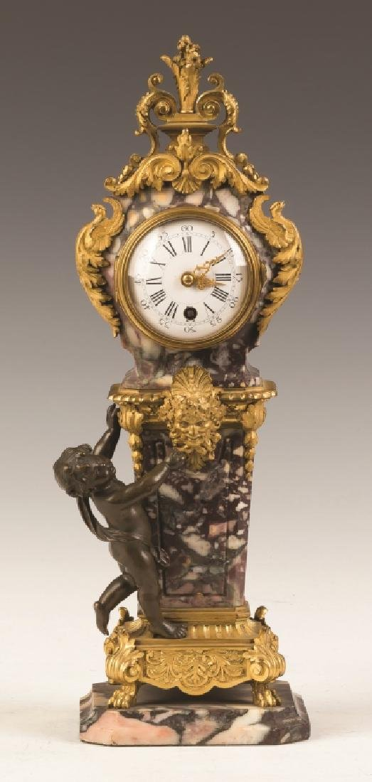 French Miniature Marble and Gilt Bronze Clock