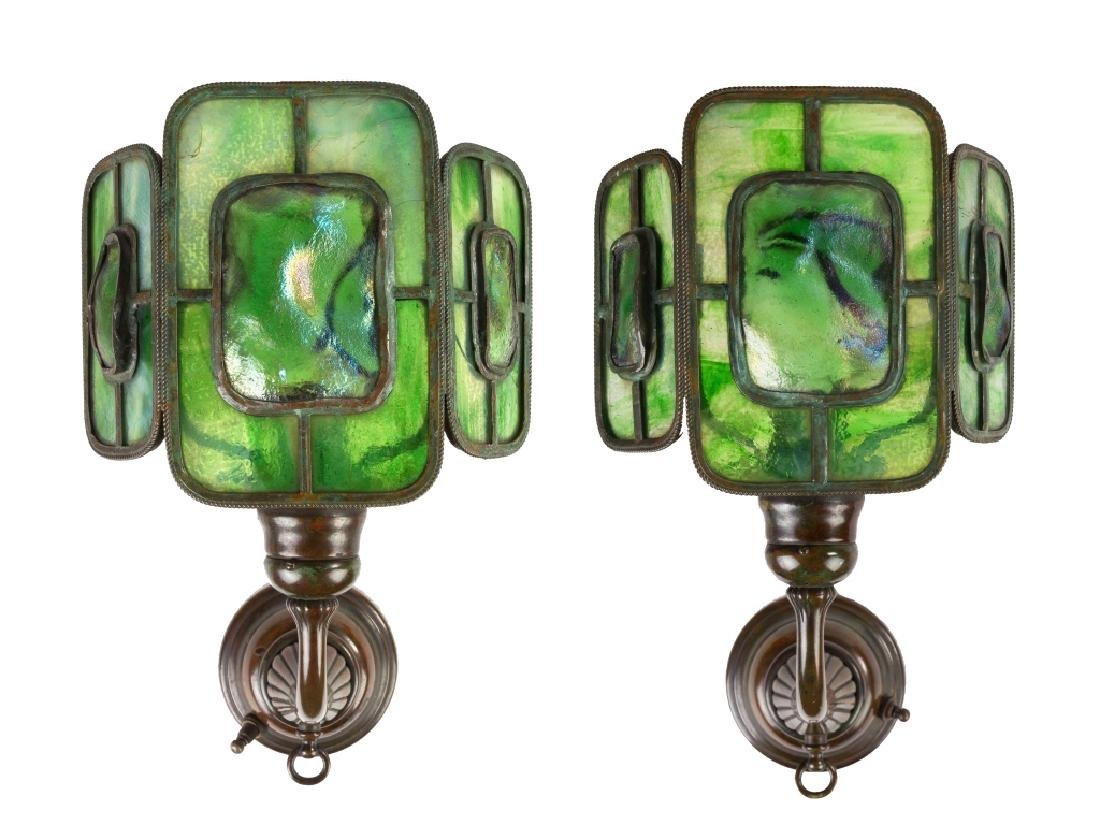 Pair of Tiffany Studios Bronze and Leaded Three Panel