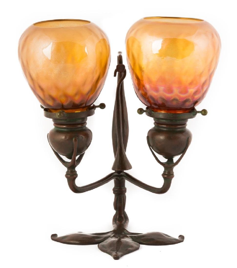 Tiffany Studios Double Bronze Candle Lamp with  Snuffer