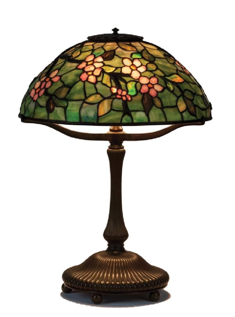 Tiffany Studios New York Apple Blossom Leaded Glass and