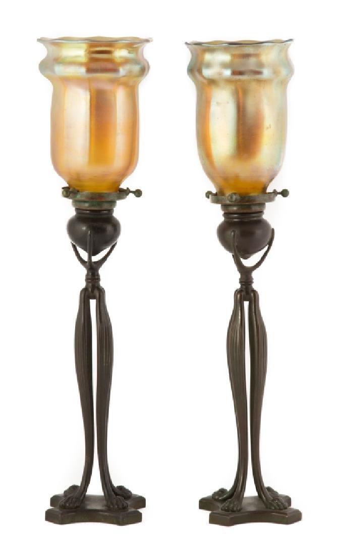 Pair of Tiffany Studios NY Paw Foot Bronze Candle