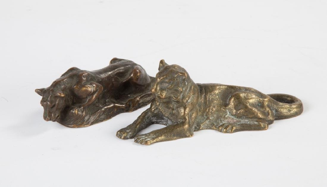 Two Tiffany Studios Bronze Lion Paperweights