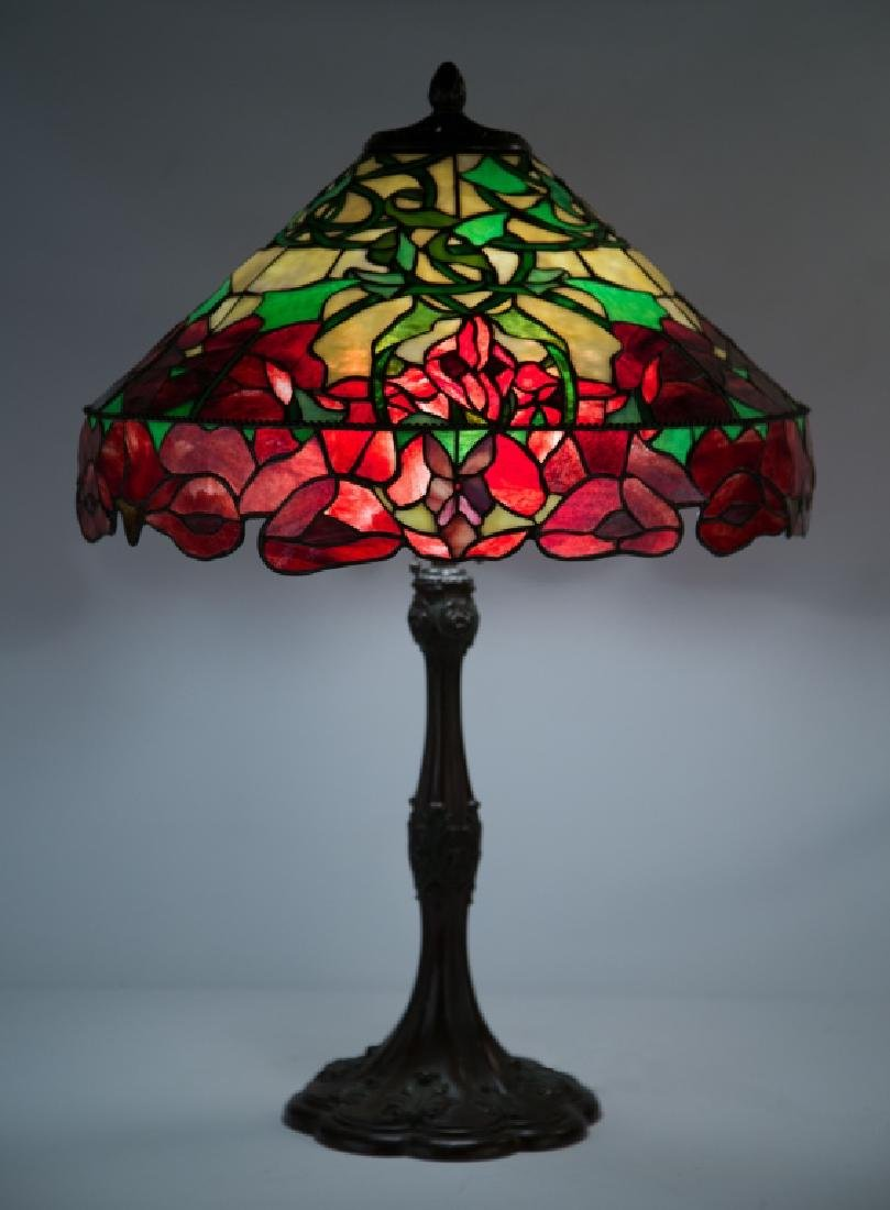 Whaley Red Oriental Poppy Leaded Glass Lamp
