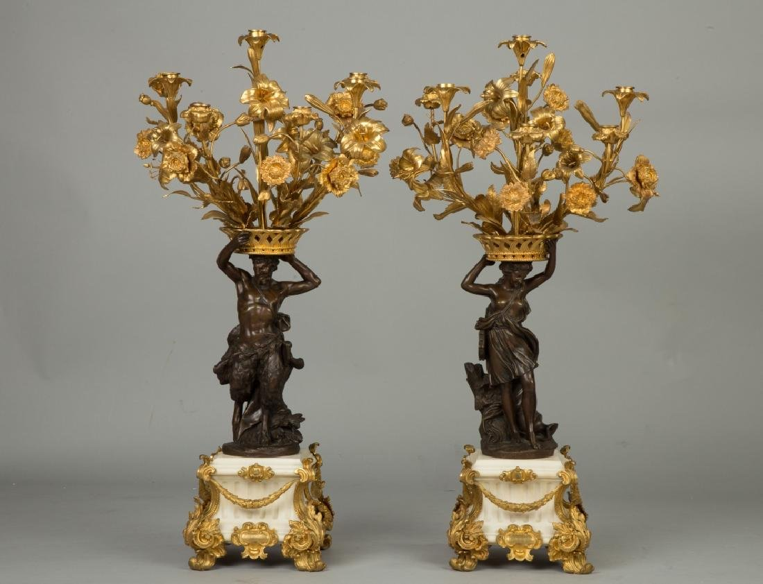 Pair of French Marble, Gilt Bronze and Bronze Figural