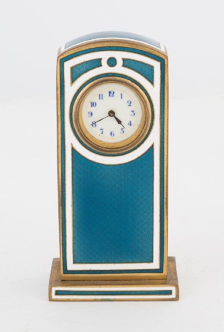 Swiss Blue and White Guilloche Enamel Clock