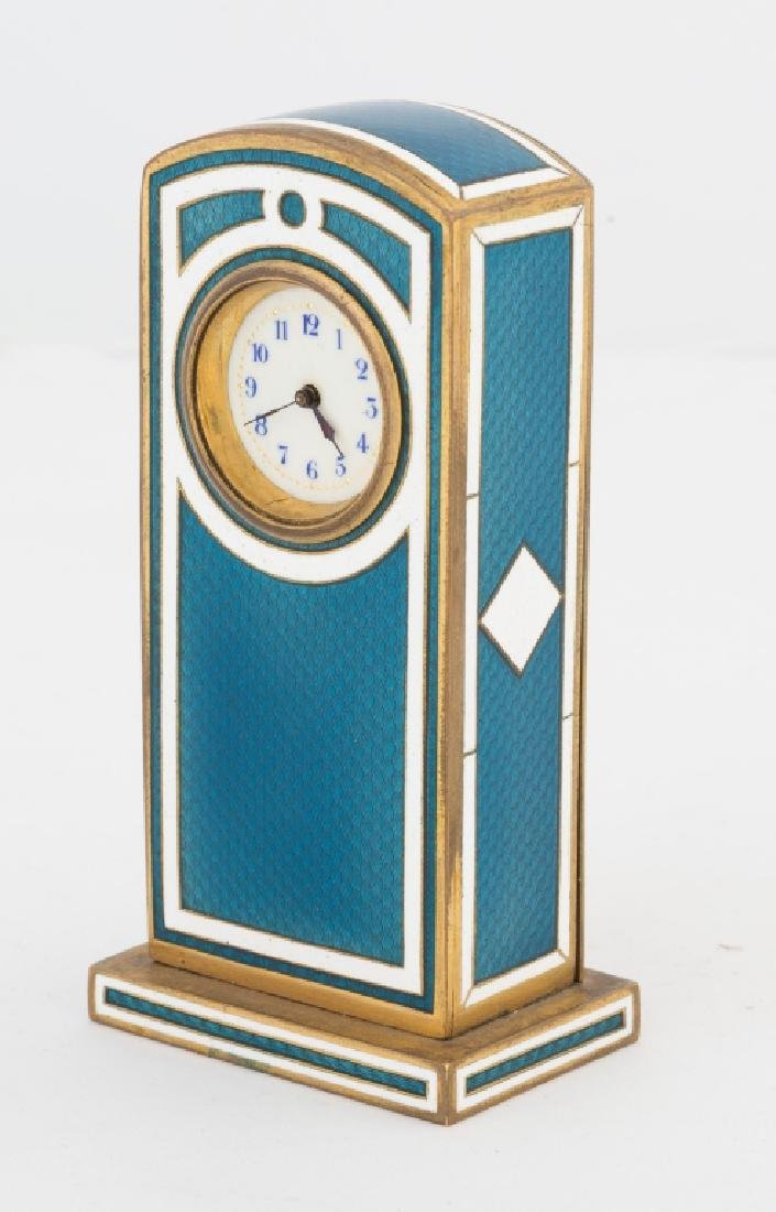 Swiss Blue and White Guilloche Enamel Clock - 2