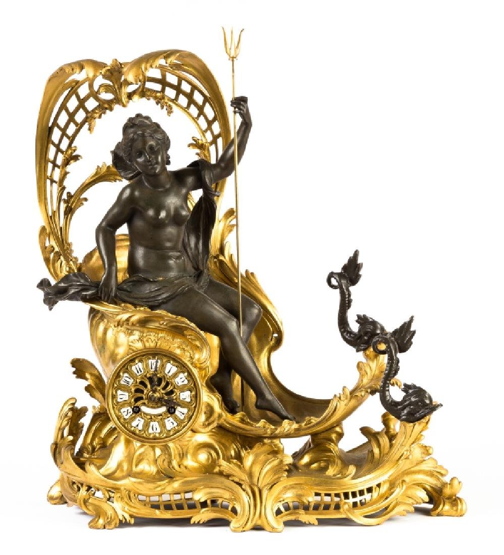 "French Shelf Clock, ""Amphitrite's Chariot Drawn by"