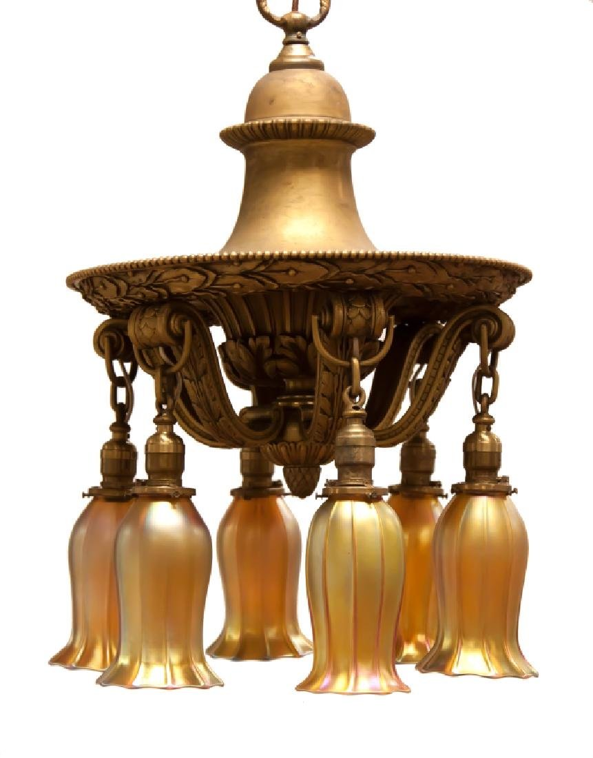 Gilt Bronze Chandelier with Quezal Shades