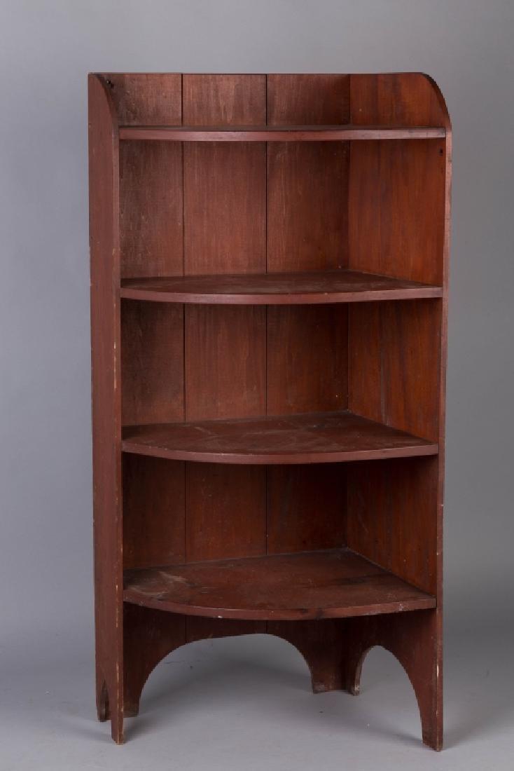 Red Painted Pine Corner Shelf