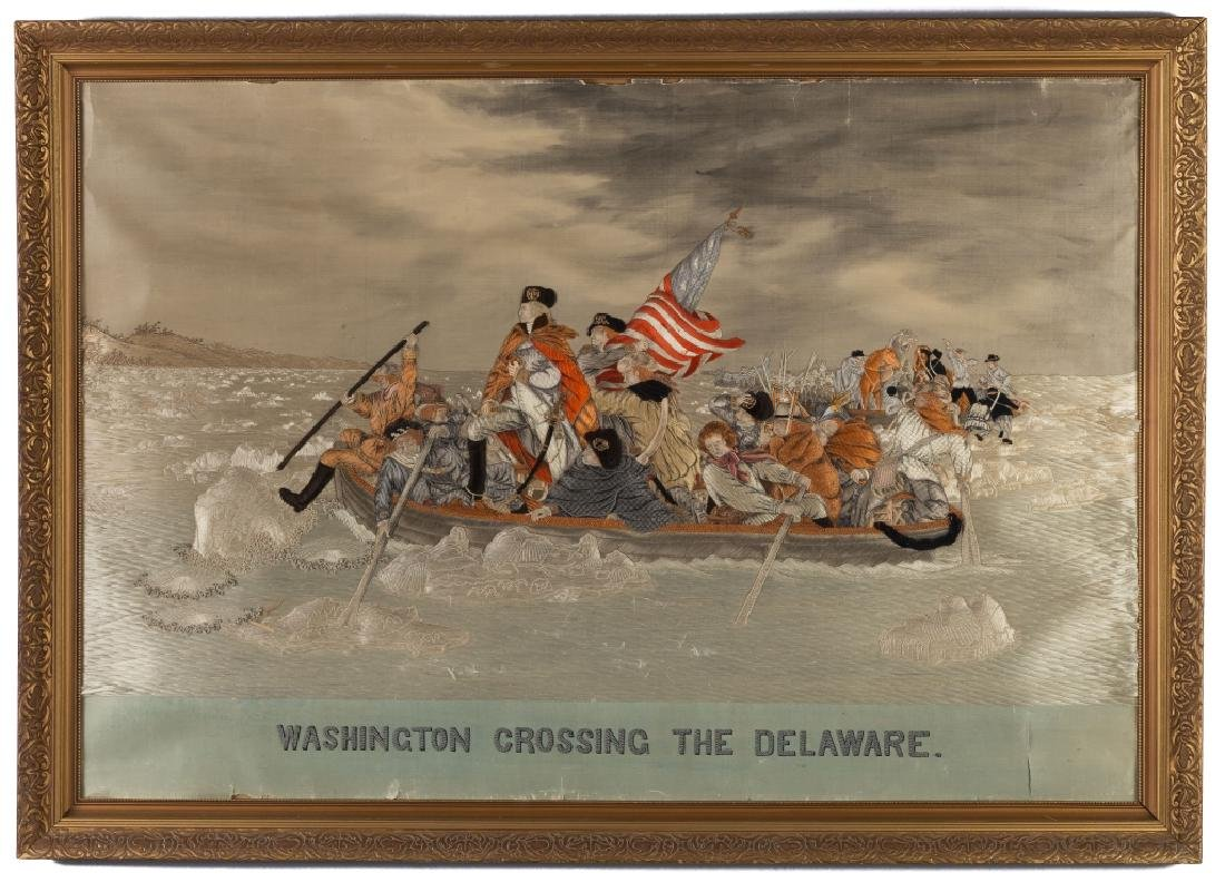 Needlework and Trapunto on Silk of Washington Crossing