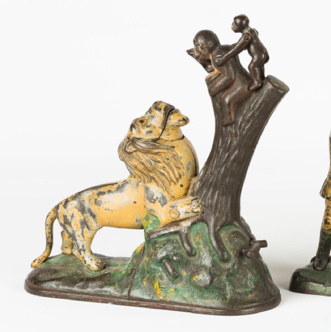 Lion and Monkey Cast Iron Mechanical Bank