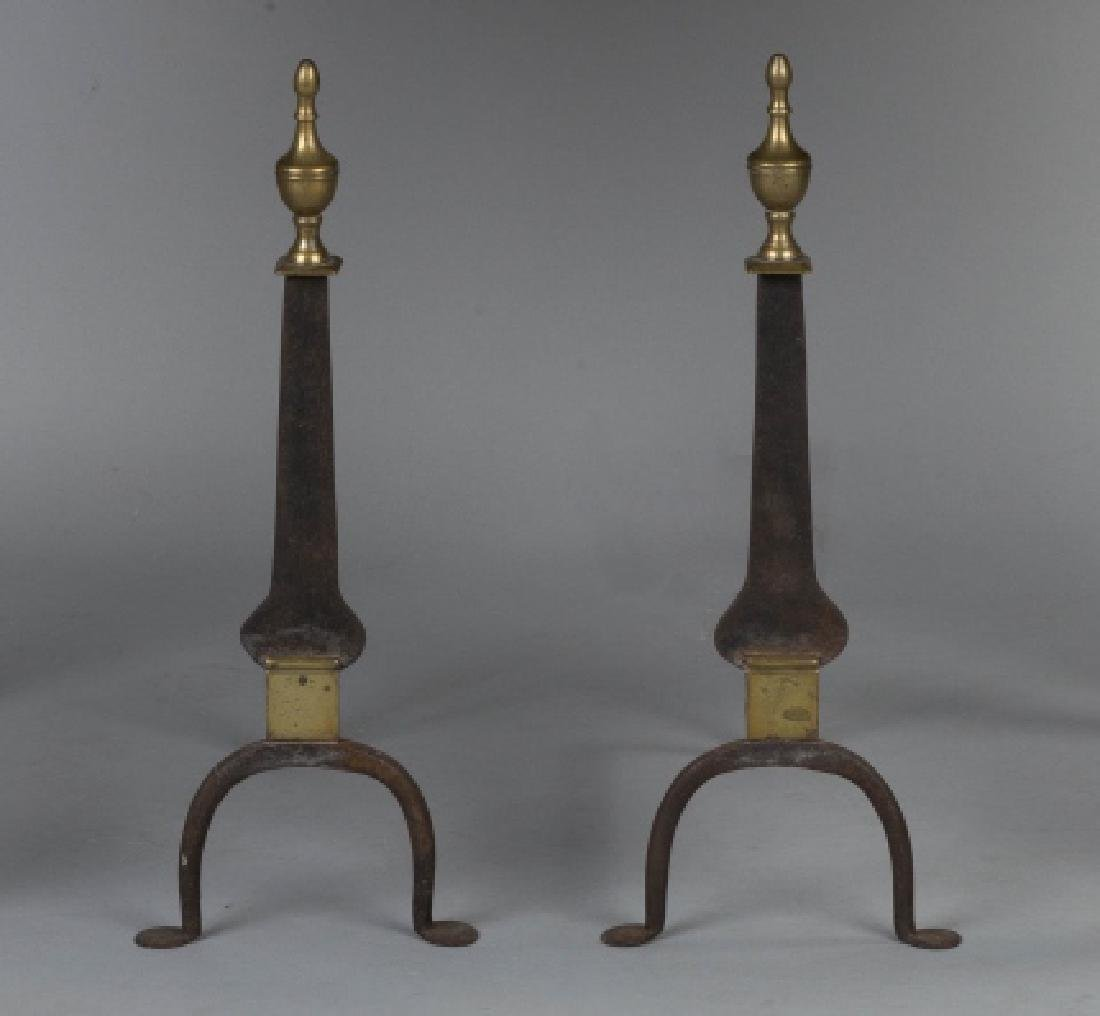Wrought Iron Knife Blade and Brass Andirons