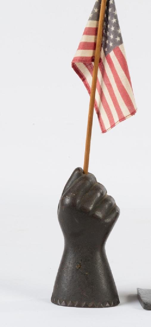 Cast Iron Hand with Flag