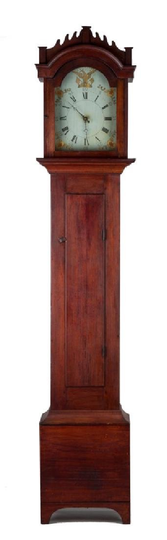 New England Red Stained Wooden Works Tall Case  Clock