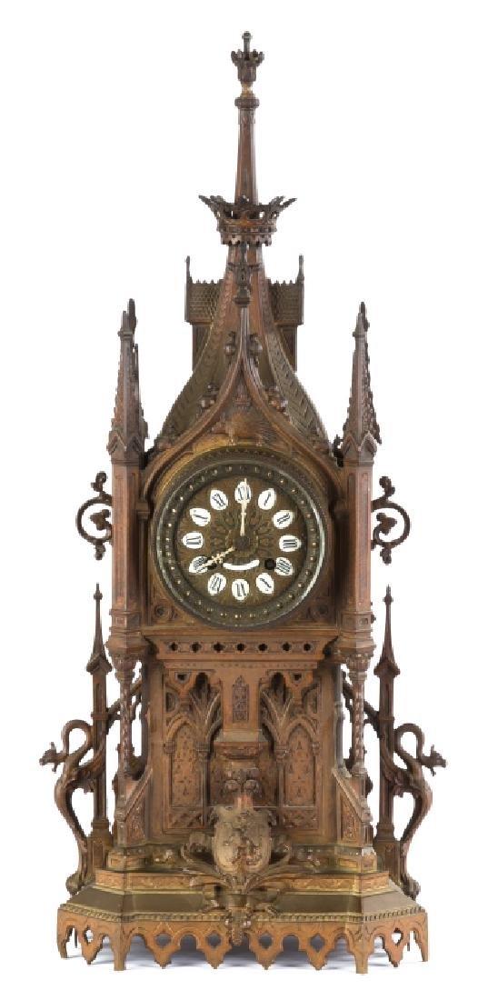 French Bronze Gothic Shelf Clock