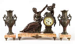 French Art Nouveau Three Piece Mantle Clock Set