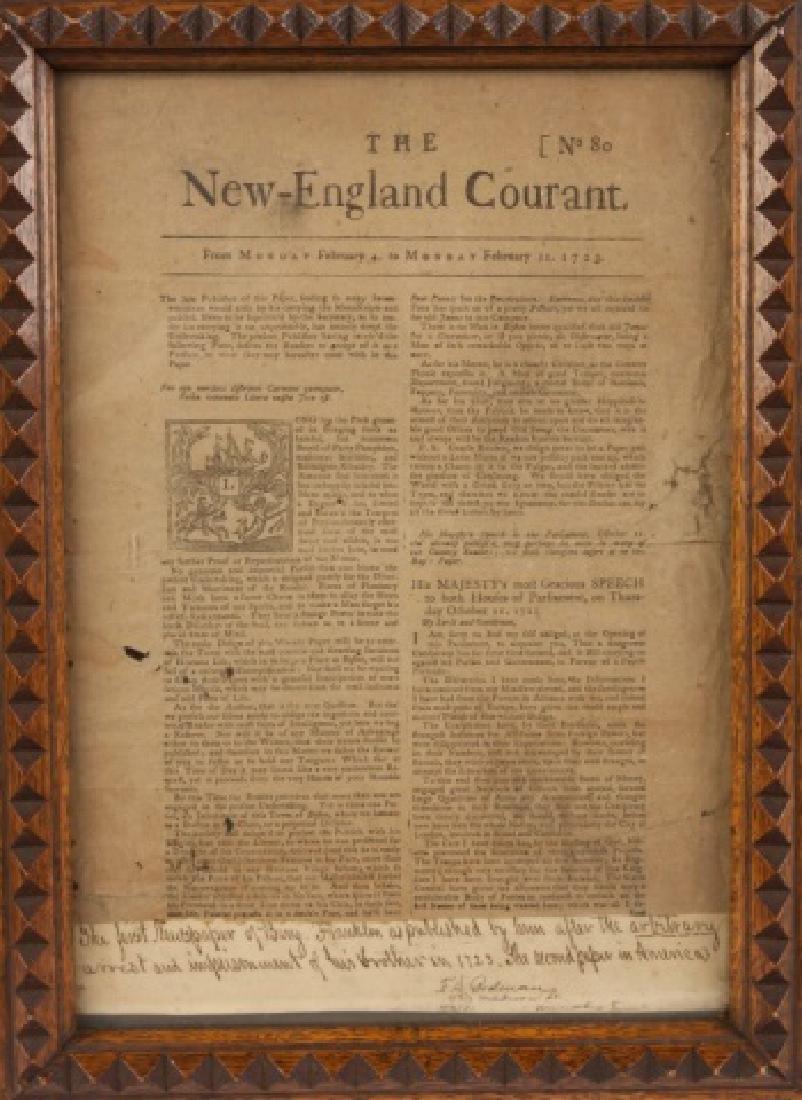 First Newspaper of Benjamin Franklin, 1723