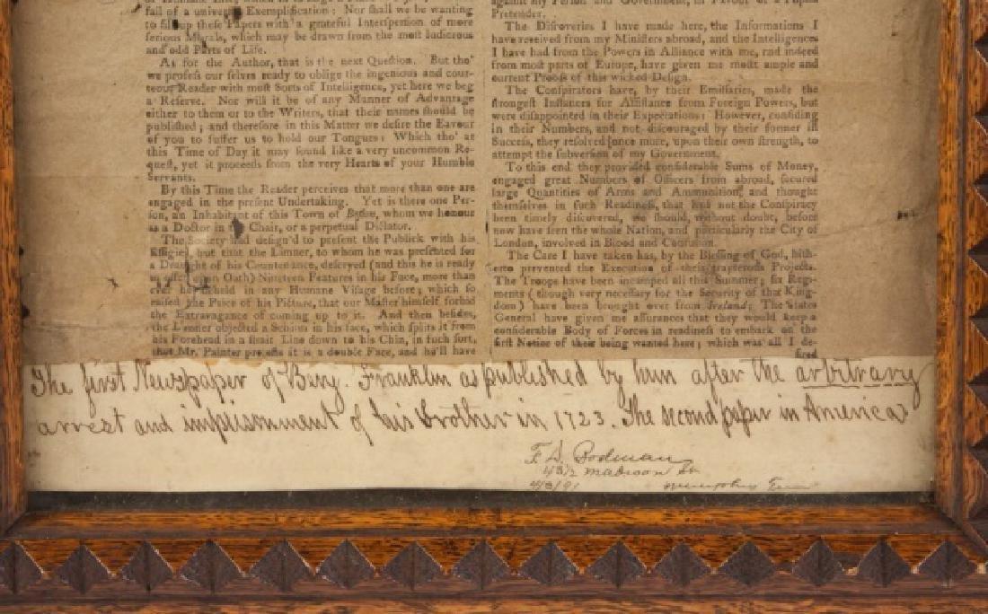 First Newspaper of Benjamin Franklin, 1723 - 2